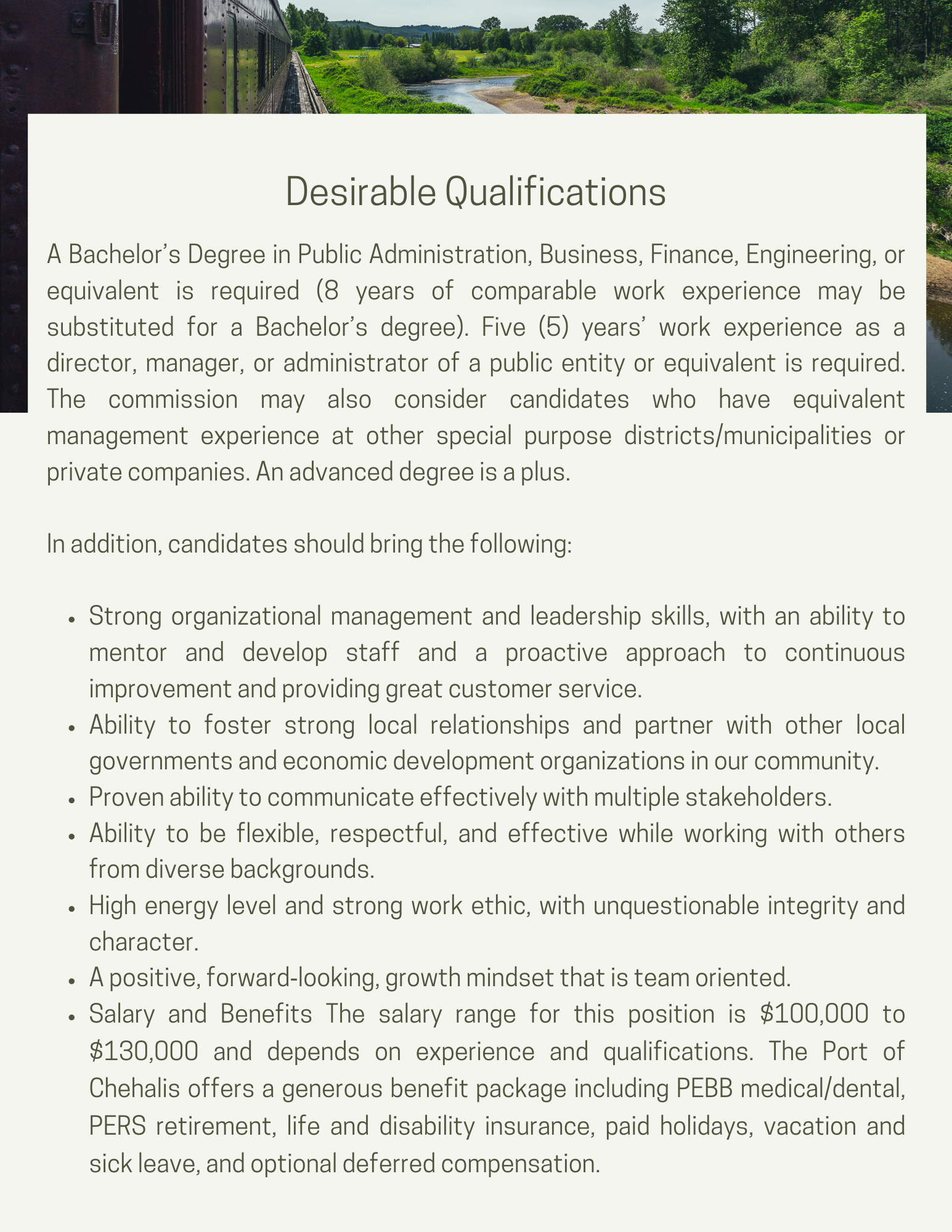 Qualifications for recruitment announcement